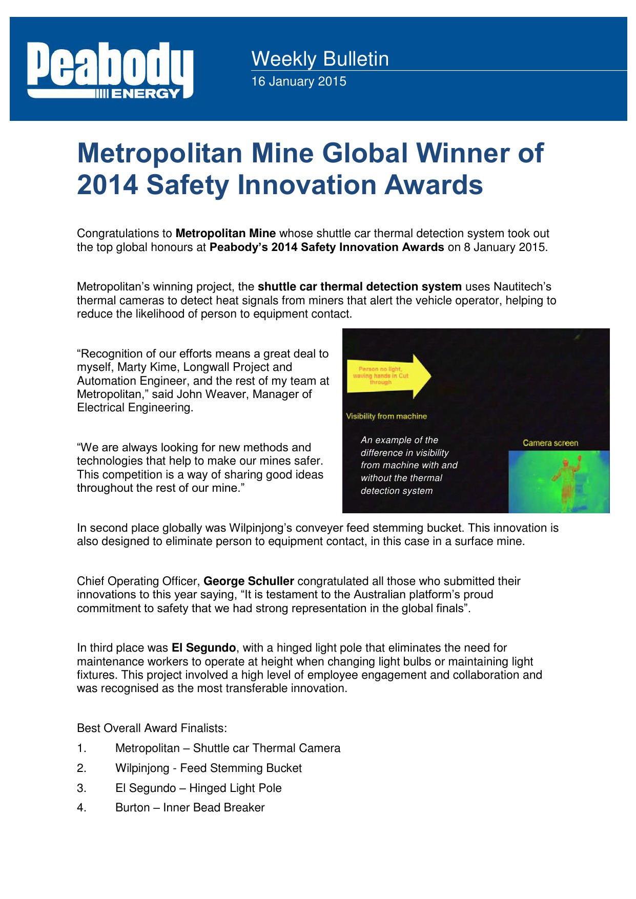 Metropolitan Mine Global Winner of 2014 Safety Innovation Awards